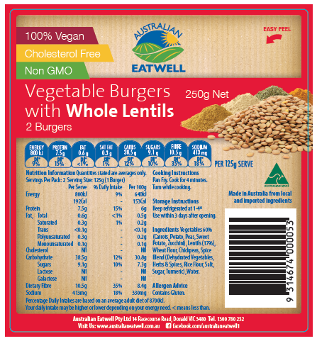 Lentil Vegetable Burgers - 2 Pack