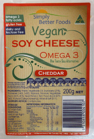 Simply Better Foods Omega 3 Soy Cheese