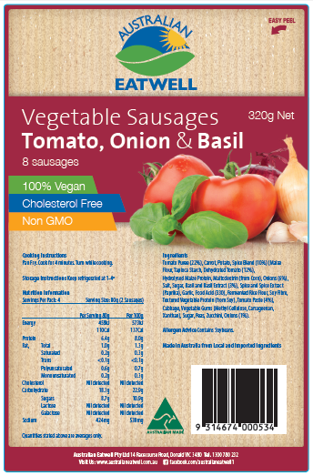 Tomato, Onion and Basil Vegetable Sausages image